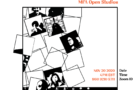 Digital and Interdisciplinary Art Practice Open Studios Fall 2020 poster with a black and white image of a Zoom interface with the speaker squares tumbling down