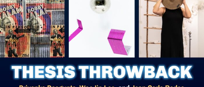 Image for 'Thesis Throwback' featuring images of work by the three panelists on a blue background